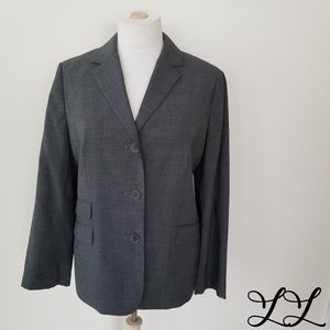 Talbots Blazer Jacket Gray Wool Lined Work